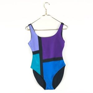 Other - Vintage • 80s/90s Colorblocked Bodysuit/Swimsuit.